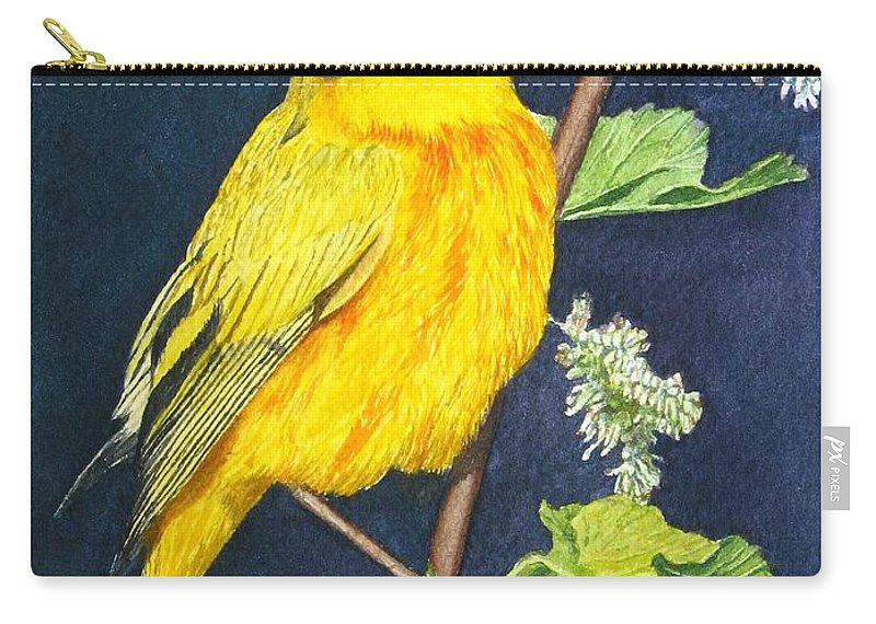 Bird Carry-all Pouch featuring the painting Yelllow Warbler by Sharon Farber
