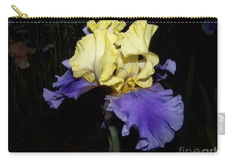 Iris Carry-all Pouch featuring the photograph Yellow And Blue Iris by Kathy McClure