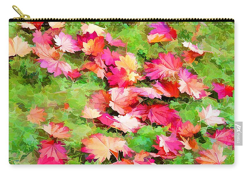 Yellow And Red Fall Maple Leaves Carry-all Pouch featuring the painting Yellow And Red Fall Maple Leaves by Jeelan Clark
