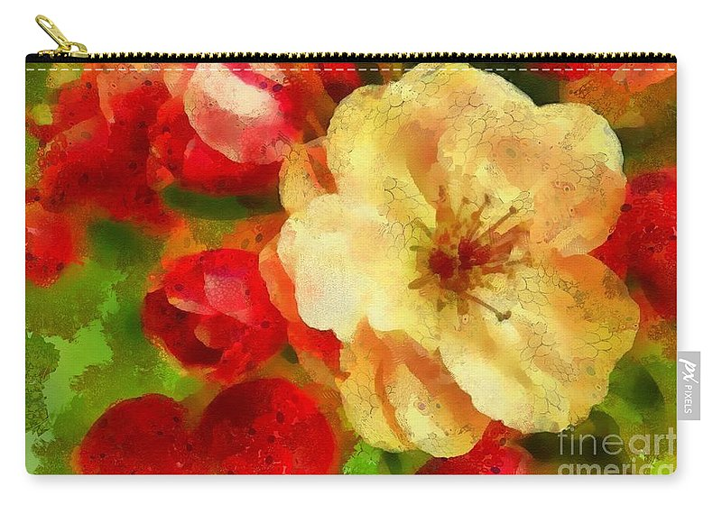 Yellow And Red Floral Delight Carry-all Pouch featuring the painting Yellow And Red Floral Delight by Catherine Lott