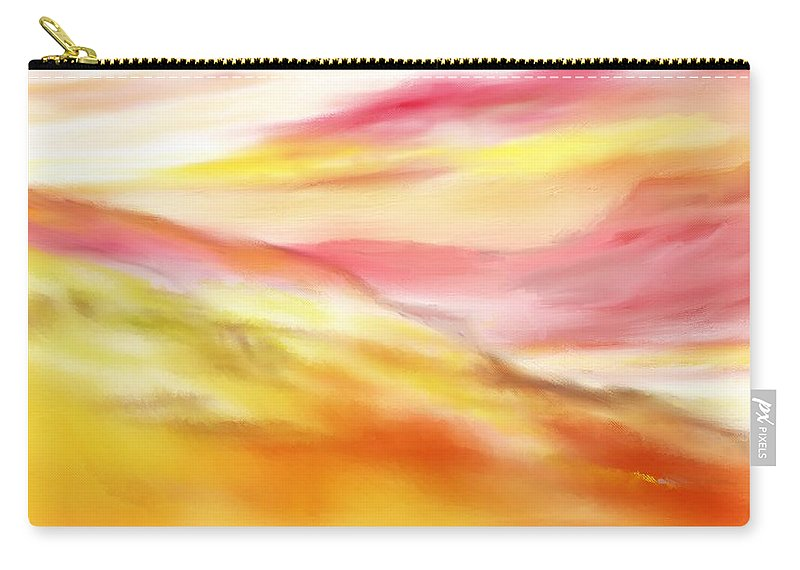 Digital Art Carry-all Pouch featuring the digital art Yellow And Red Landscape by David Lane
