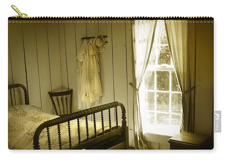 Bedroom Carry-all Pouch featuring the photograph Yellow Bedroom Light by Mal Bray