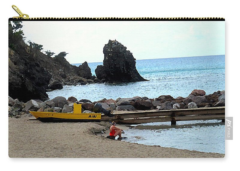 Beach Carry-all Pouch featuring the photograph Yellow Boat On The Beach by Ian MacDonald