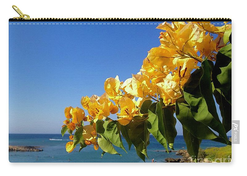 Bougainvillea Carry-all Pouch featuring the photograph Yellow Bougainvillea Over The Mediterranean On The Island Of Cyprus by Clay Cofer