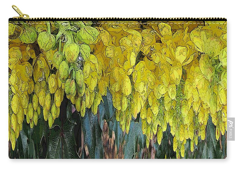 Yellow Carry-all Pouch featuring the digital art Yellow Buds by Tim Allen
