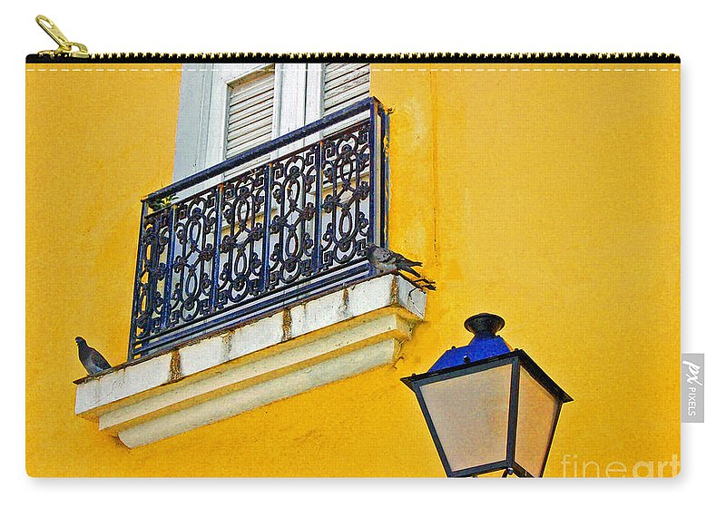 Pigeon Carry-all Pouch featuring the photograph Yellow Building by Debbi Granruth