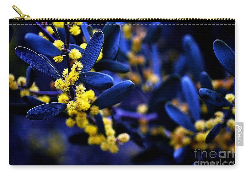 Clay Carry-all Pouch featuring the photograph Yellow Bursts In Blue Field by Clayton Bruster