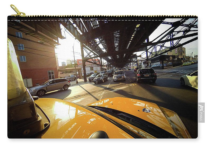 New York Carry-all Pouch featuring the photograph Yellow Cab by Ferry Zievinger