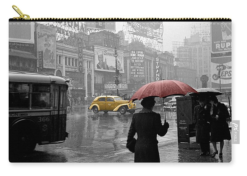 Times Square Carry-all Pouch featuring the photograph Yellow Cabs New York 2 by Andrew Fare