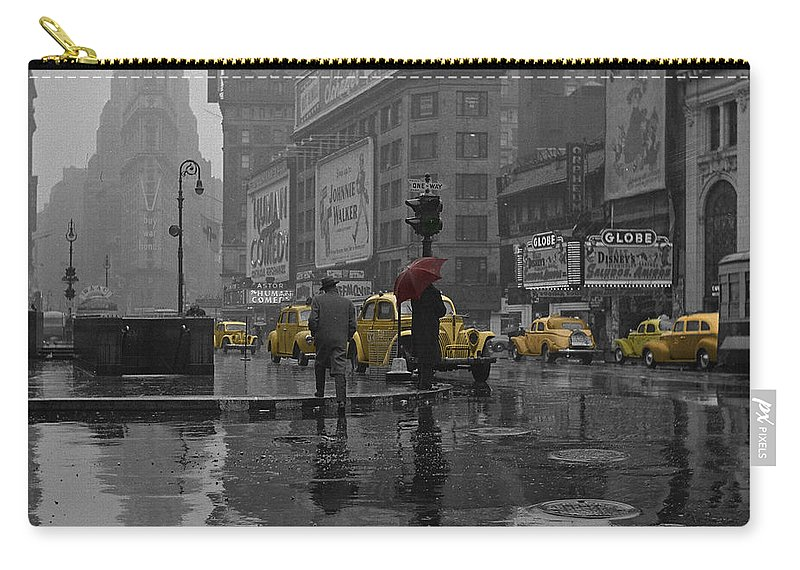 Times Square Carry-all Pouch featuring the photograph Yellow Cabs New York by Andrew Fare