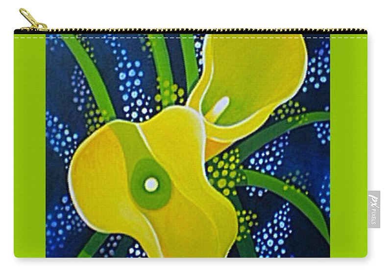 Lily Carry-all Pouch featuring the painting Yellow Callas by Helena Tiainen