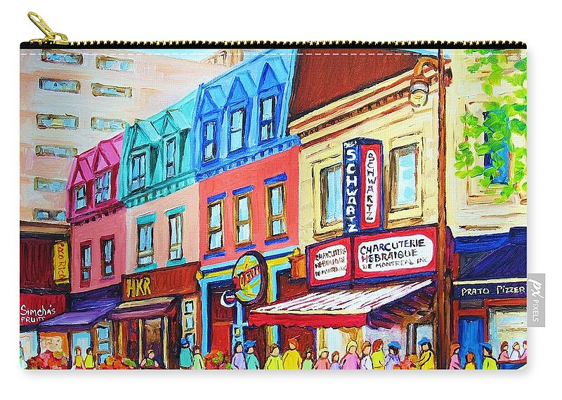 Reastarant Carry-all Pouch featuring the painting Yellow Car At The Smoked Meat Lineup by Carole Spandau