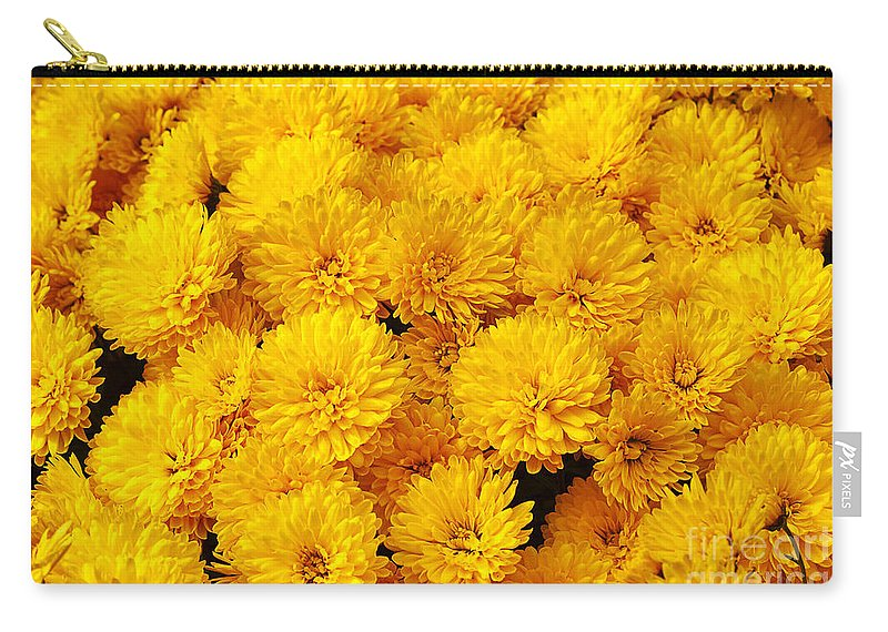 Flower Carry-all Pouch featuring the photograph Yellow Chrysanthemums by Louise Heusinkveld