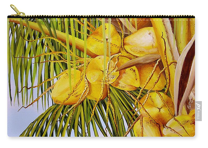 Coconuts Carry-all Pouch featuring the painting Yellow Coconuts- 01 by Dominica Alcantara