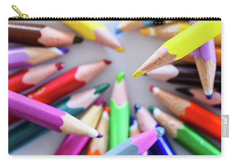 Background Carry-all Pouch featuring the photograph Yellow. Colored Pencils Used By Children by Nicola Simeoni