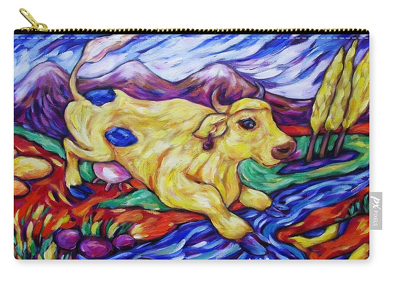 Diconnollyart Carry-all Pouch featuring the painting Yellow Cow Jumps The Creek by Dianne Connolly