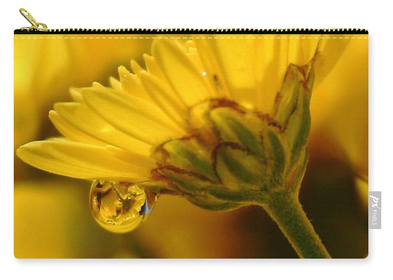 Flowers Carry-all Pouch featuring the photograph Yellow Drip by Linda Sannuti