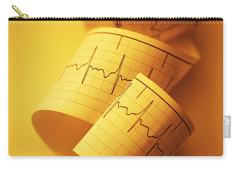 Ekg Carry-all Pouch featuring the photograph Yellow Ekg by George Mattei