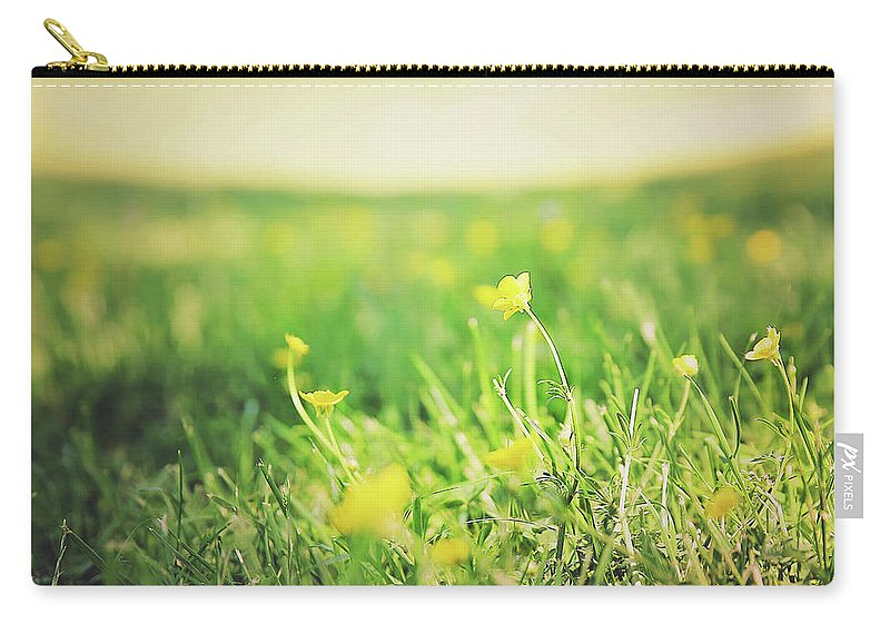 Meadow Carry-all Pouch featuring the photograph Yellow Fields by Heather Sesnowitz
