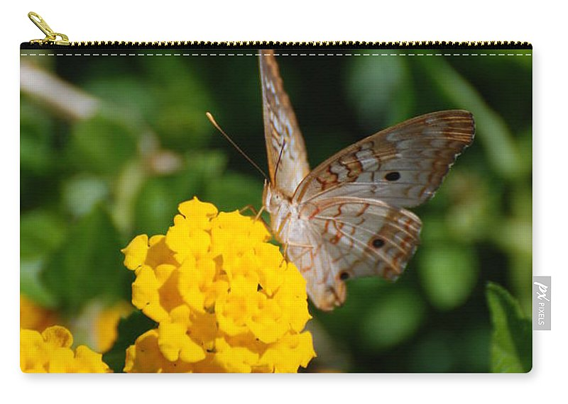 Butterfly Carry-all Pouch featuring the photograph Yellow Flower Brown Fly by Rob Hans