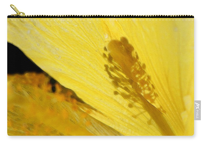 Hibiscus Carry-all Pouch featuring the painting Yellow Flower - Hibiscus Shadow - Sharon Cummings by Sharon Cummings