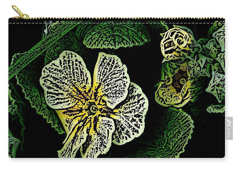 Floral Carry-all Pouch featuring the digital art Yellow Flower Woodcut by David Lane