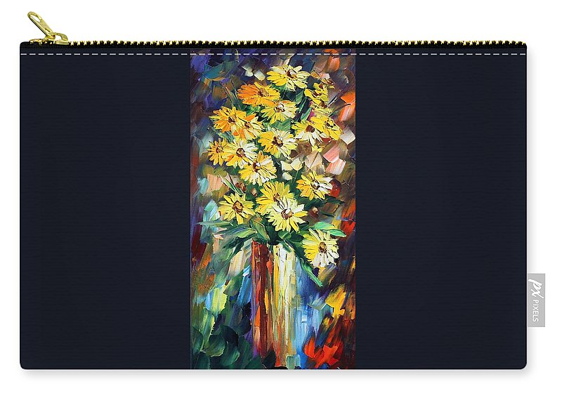Afremov Carry-all Pouch featuring the painting Yellow Flowers by Leonid Afremov