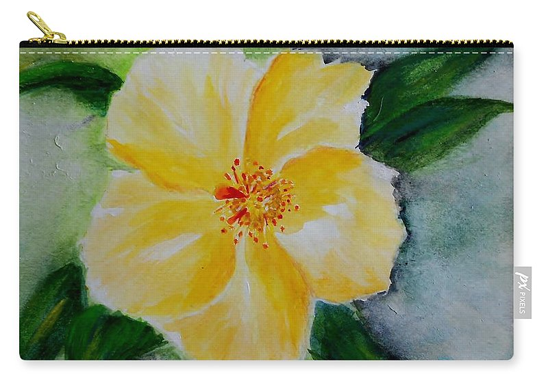 Flower Carry-all Pouch featuring the painting Yellow Hibiscus by Jamie Frier