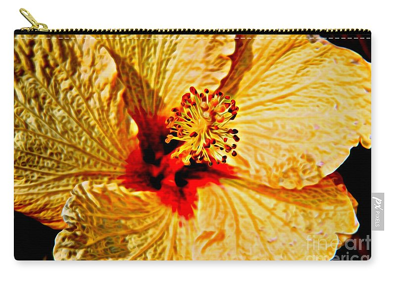 Yellow Hibiscus Flower Carry-all Pouch featuring the photograph Yellow Hibiscus by Mariola Bitner