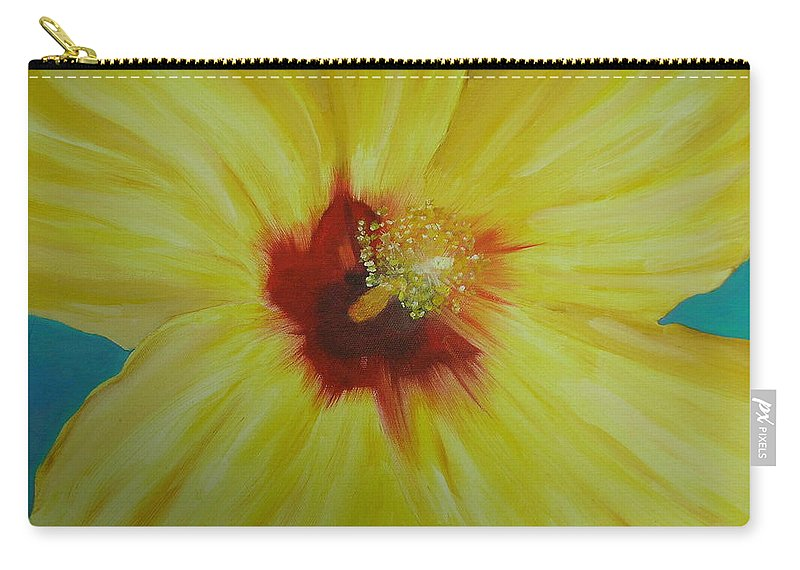 Flower Carry-all Pouch featuring the print Yellow Hibiscus by Melinda Etzold