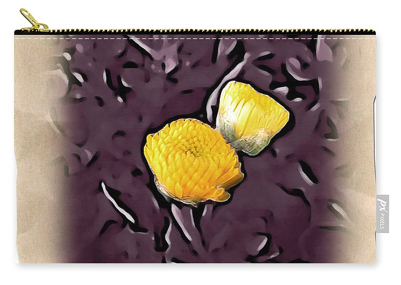 Floral Carry-all Pouch featuring the photograph Yellow In Purple by Joan Minchak