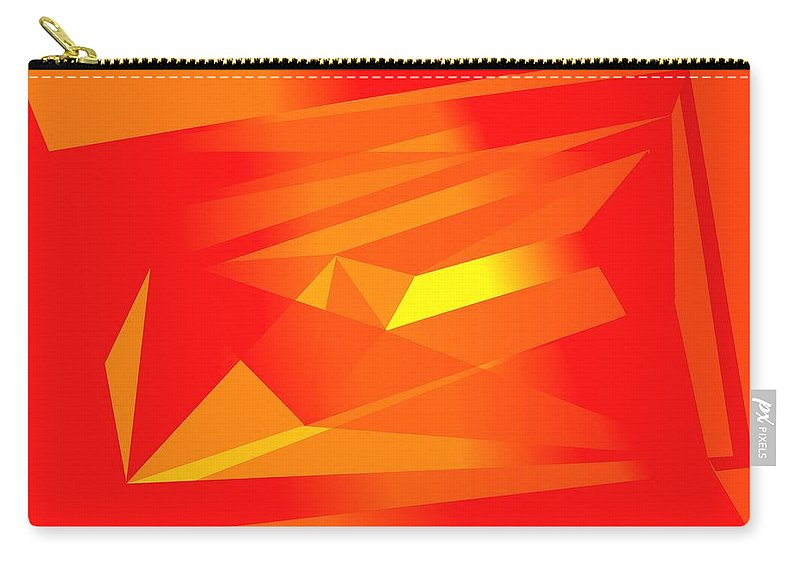 Red Carry-all Pouch featuring the digital art Yellow In Red by Helmut Rottler