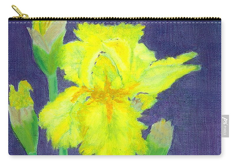 Iris Carry-all Pouch featuring the painting Yellow Iris by Paula Emery