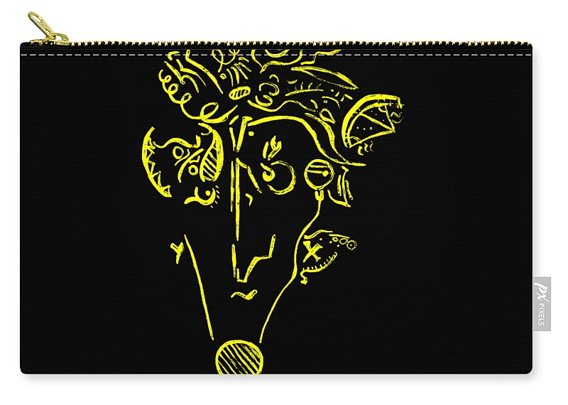Yellow Man Abstract Carry-all Pouch featuring the painting Yellow by Iveta Olivova