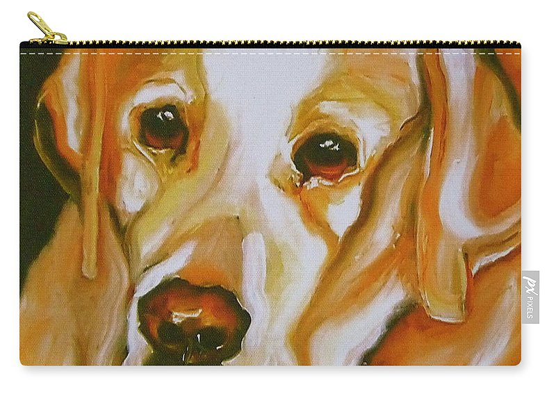 Oil Carry-all Pouch featuring the painting Yellow Lab Amazing Grace by Susan A Becker
