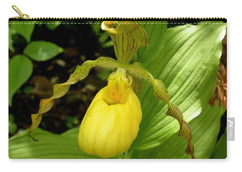 Orchid Carry-all Pouch featuring the photograph Yellow Lady's Slipper by Nelson Strong