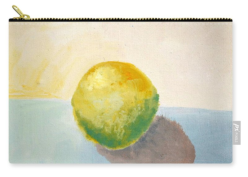 Lemon Carry-all Pouch featuring the painting Yellow Lemon Still Life by Michelle Calkins