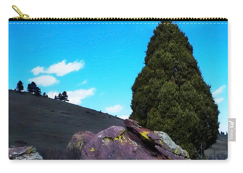 Yellow Carry-all Pouch featuring the photograph Yellow Lichen by Marilyn Hunt