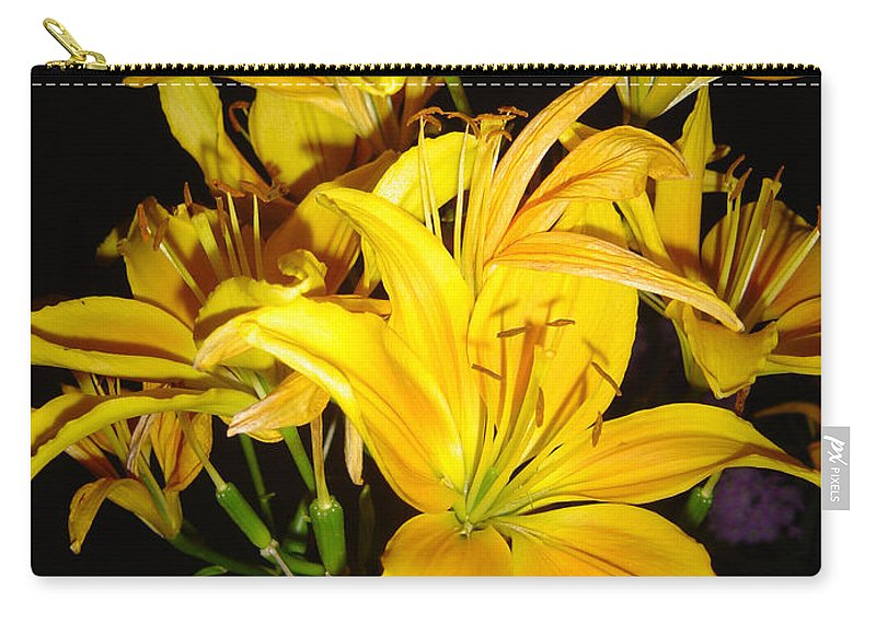 Yellow Lilies Bouquet Carry-all Pouch featuring the photograph Yellow Lilies by Joanne Smoley