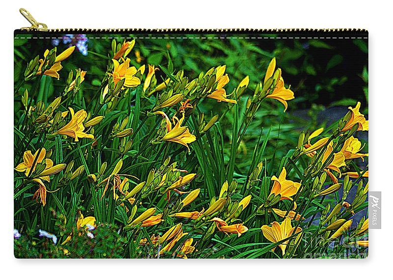 Yellow Lily Flowers Carry-all Pouch featuring the photograph Yellow Lily Flowers by Susanne Van Hulst