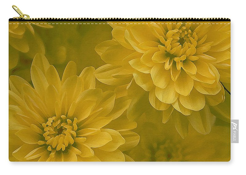 Yellow Mum Art Carry-all Pouch featuring the photograph Yellow Mums by Linda Sannuti