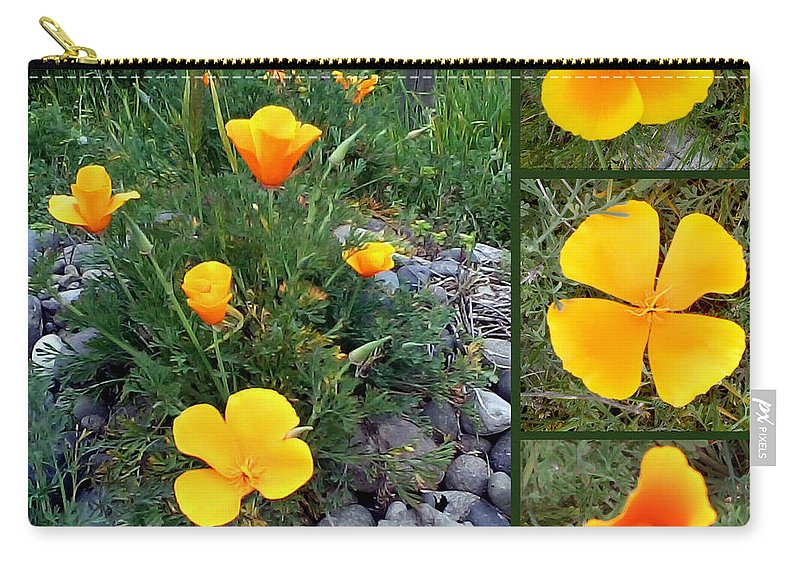 Dedal De Oro Carry-all Pouch featuring the photograph Yellow Poppies Collage by Madalena Lobao-Tello