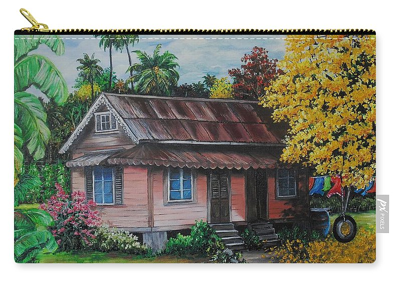 Old House Carry-all Pouch featuring the painting Yellow Poui Time by Karin Dawn Kelshall- Best