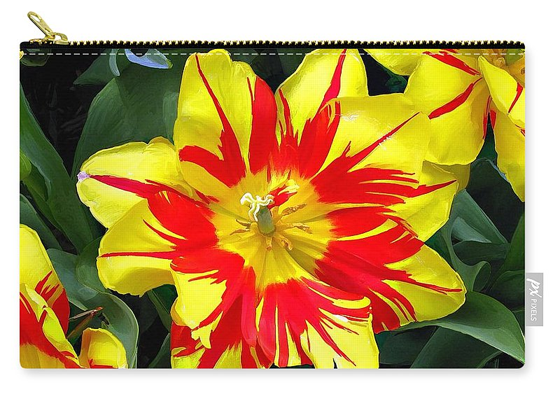 Flower Print On Canvas Carry-all Pouch featuring the painting Yellow Red Flower by Susanna Katherine