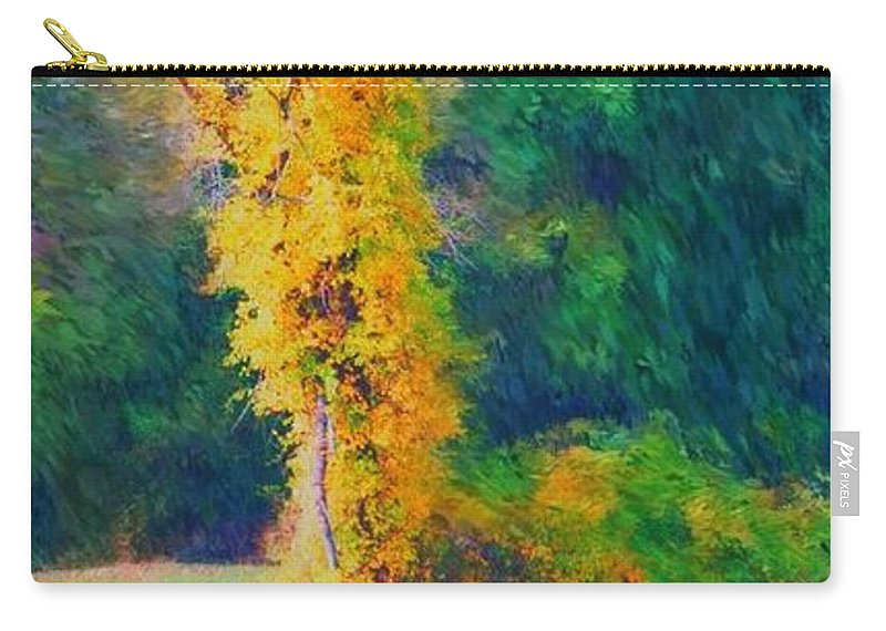 Digital Landscape Carry-all Pouch featuring the digital art Yellow Reflections by David Lane