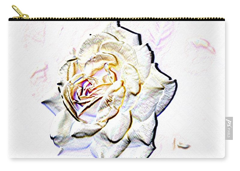 Rose Carry-all Pouch featuring the digital art Yellow Rose by Tim Allen