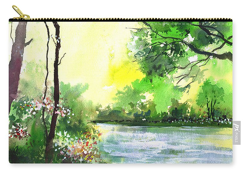 Sky Carry-all Pouch featuring the painting Yellow Sky by Anil Nene