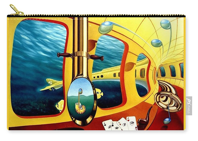 Art Oil Painting Canvas Yellow Submarine Nautilus Trompet Corn Music Carry-all Pouch featuring the painting Yellow Submarine by Gyuri Lohmuller