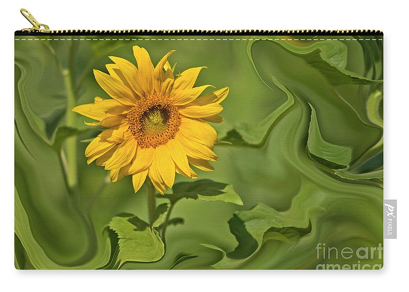 Psi Carry-all Pouch featuring the photograph Yellow Sunflower On Green Background by Ofer Zilberstein