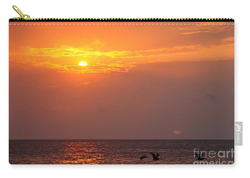 Birds Carry-all Pouch featuring the photograph Yellow Sunrise And Three Birds by Nadine Rippelmeyer